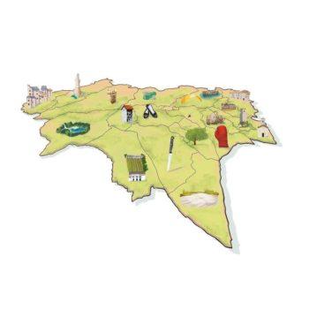 Mappa del Territorio dell'UTI delle Valli e delle Dolomiti Friulane con i simboli di ciascun comune | Realizzata a mano per il mensile dell'UTI | Eco delle Valli e delle Dolomiti Friulane | Fabbrica delle Idee | Coworking | Maniago