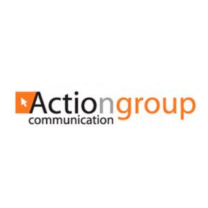 Logo ActionGroup Communication - grigio nero arancione su fondo bianco
