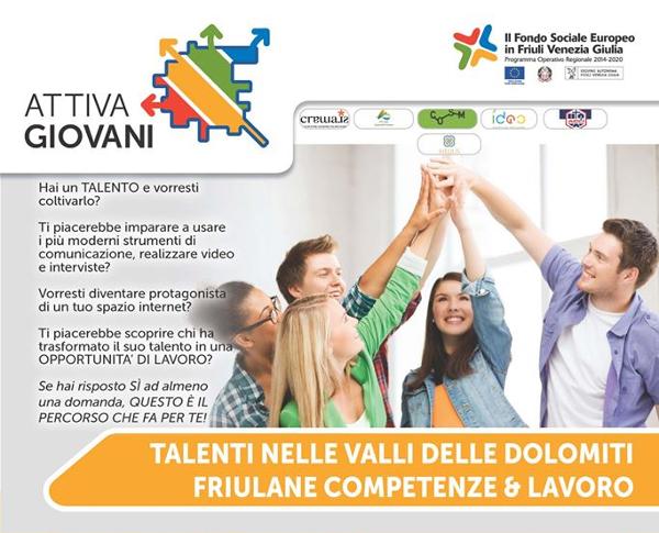 Locandina corso AttivaGiovani, corso Talenti Valli e Dolomiti Friulane | Fabbrica delle Idee | Coworking, Maniago