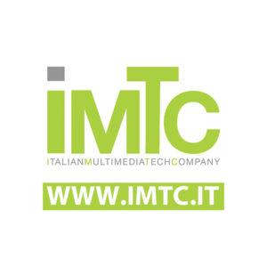 Logo IMTC - Italian Multimedia Tech Company con indirizzo internet - verde acido su campo bianco