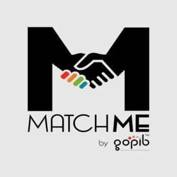 Logo MatchMe by Gopib Nero su fondo Grigio