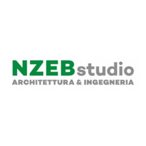 Logo NZEB - Architettura e Design - solo scritta in verde e grigio su fondo bianco