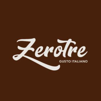 Logo ZeroTre Gusto Italiano - Gelaterie Bianco su fondo Marrone